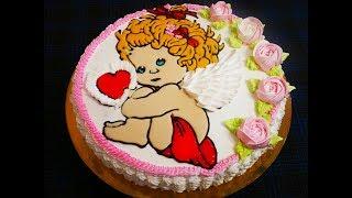 Мастер Класс по торту  раскраске Торт на КРЕСТИНЫ украшение торта
