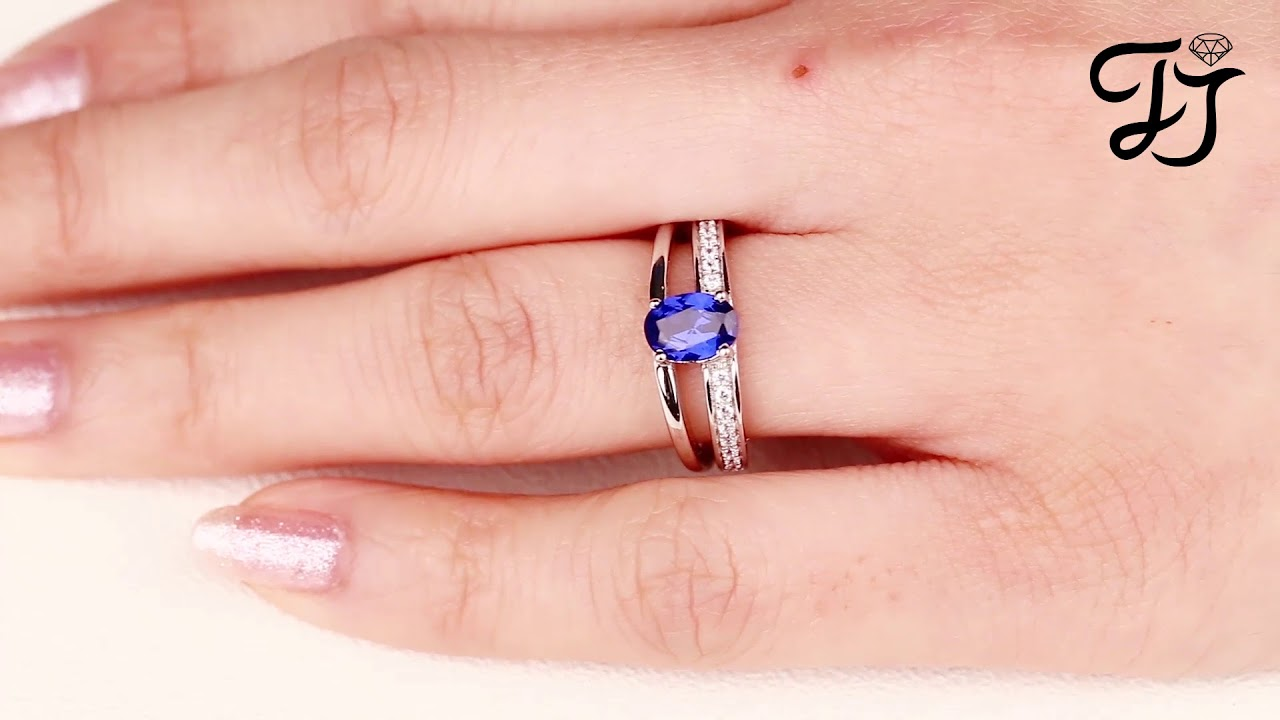 Silver Oval Artificial Blue Spinel Solitaire Rings For Women ...