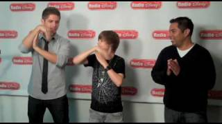 Justin Bieber Does The Glide With Jake And Ernie D. On Radio Disney