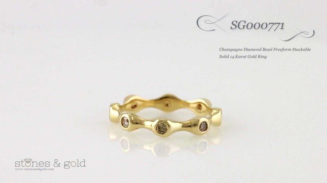 champagne diamond bezel freeform stackable solid 14 karat gold ring sg000771