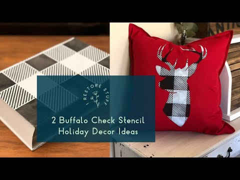 Two Buffalo Check Stencil Ideas for your Christmas Holiday Decor