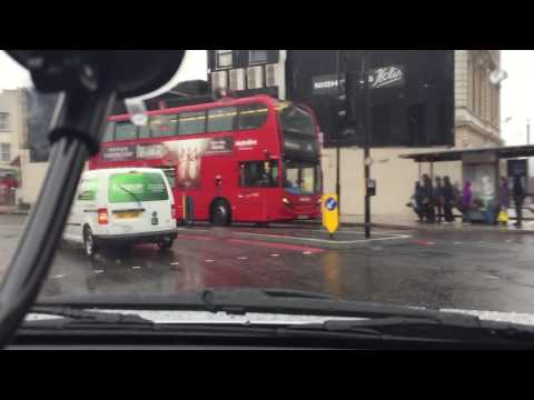 Driving in London through Rain
