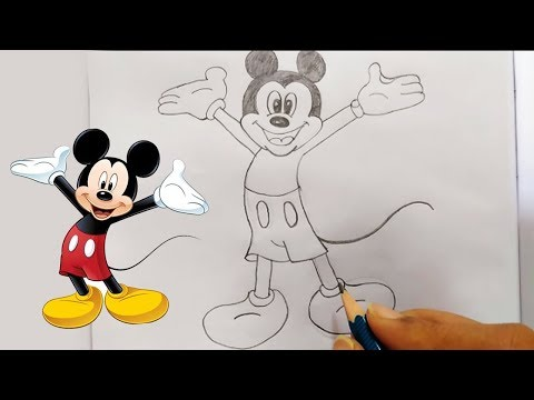 how-to-draw-mickey-mouse-step-by-step-sketching---easy-pencil-drawing-classes-for-kids-|-bullet-raj