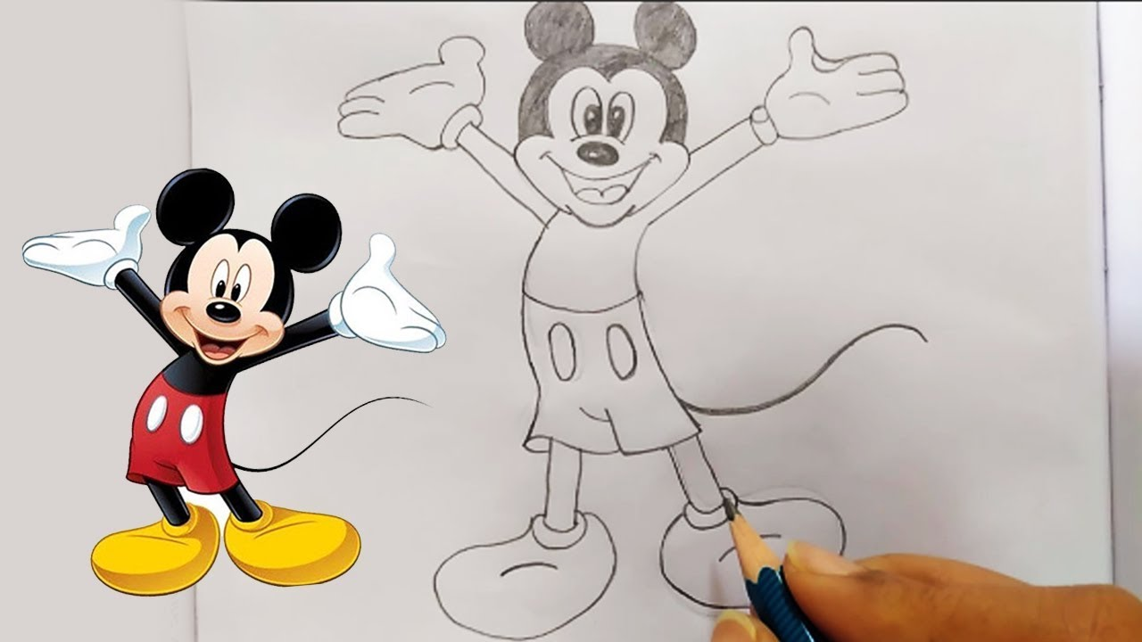 How To Draw Mickey Mouse Step By Step Sketching Easy Pencil Drawing Classes Bullet Raj Youtube