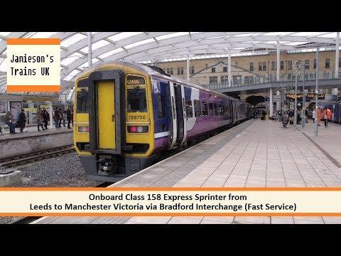 Onboard Class 158 Express Sprinter from Leeds to Manchester Victoria via Bradford Interchange