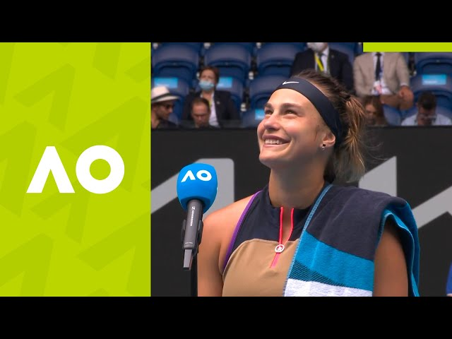 "Aryna Sabalenka: ""I was just trying to stay focused!"" (3R) on-court interview 