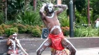 Didgeridoo aboriginal dance.Street Sidney.Australia