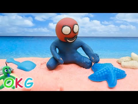 Baby Spiderman Beach Time Play Doh Cartoon Movie Baby Stop Motion Video