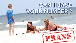 Can I Have Your Number PRANK - 9 year old Talking to Girls on the Beach