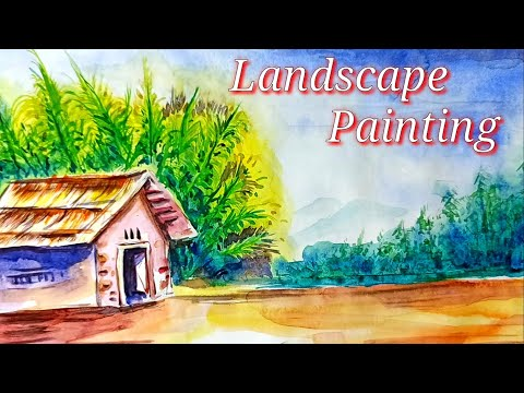 Landscape in watercolour   Painting   learn   Watercolour    Painting in easy way  shyam ranga