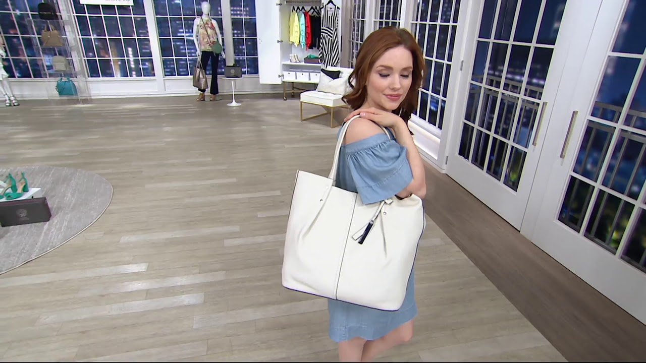 80853d4f4 Vince Camuto Leather Tote Bag - Juni on QVC - YouTube