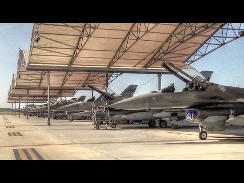 Air National Guard F-16 Fighter Jets Prep & Launch