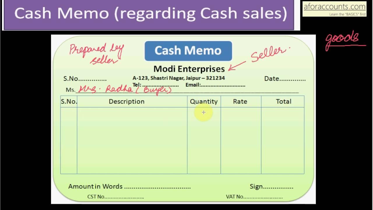 cash memo word format
