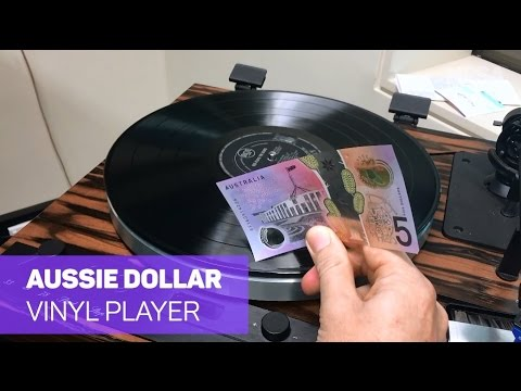 Playing vinyl albums with an Aussie dollar note!