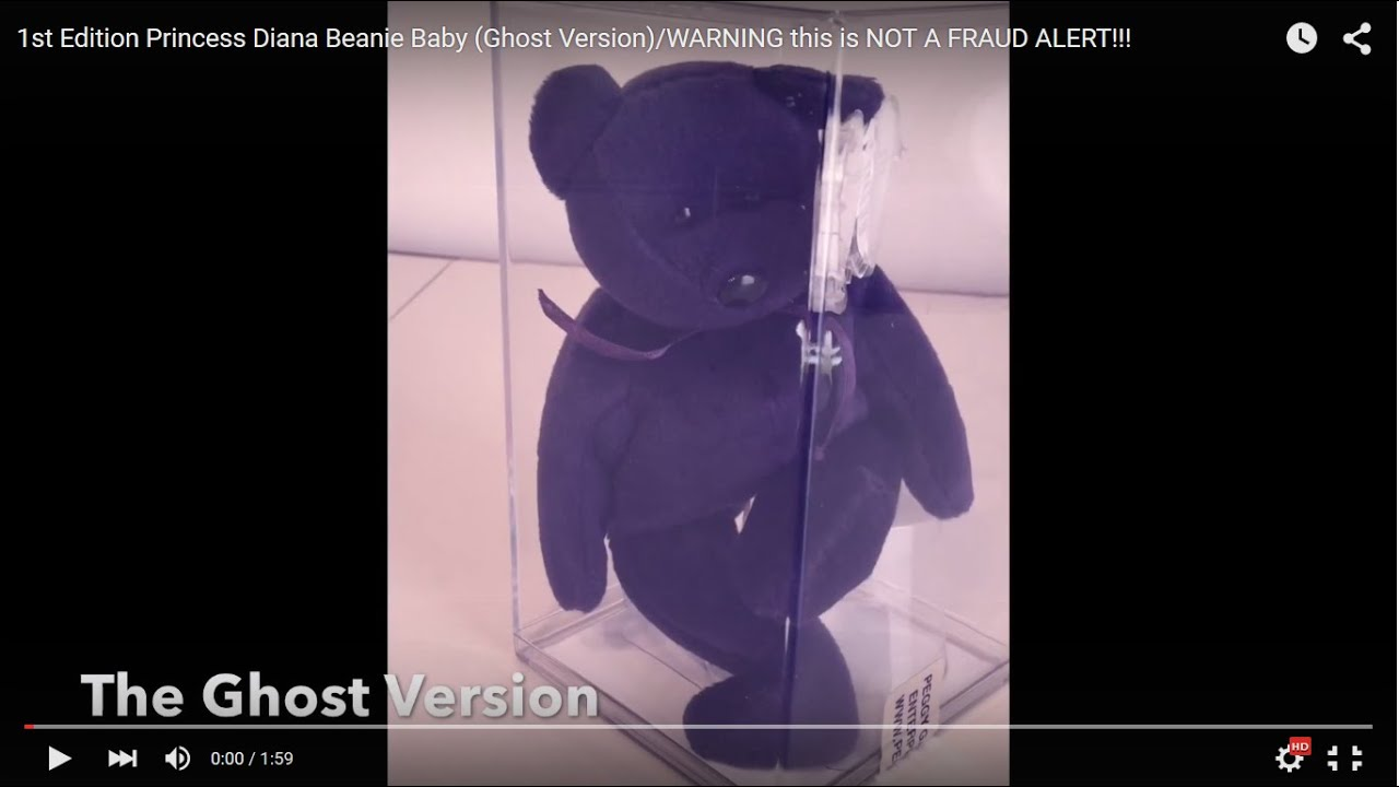 dcdc81389bc 1st Edition Princess Diana Beanie Baby (Ghost Version) WARNING this is NOT  A FRAUD ALERT!!!