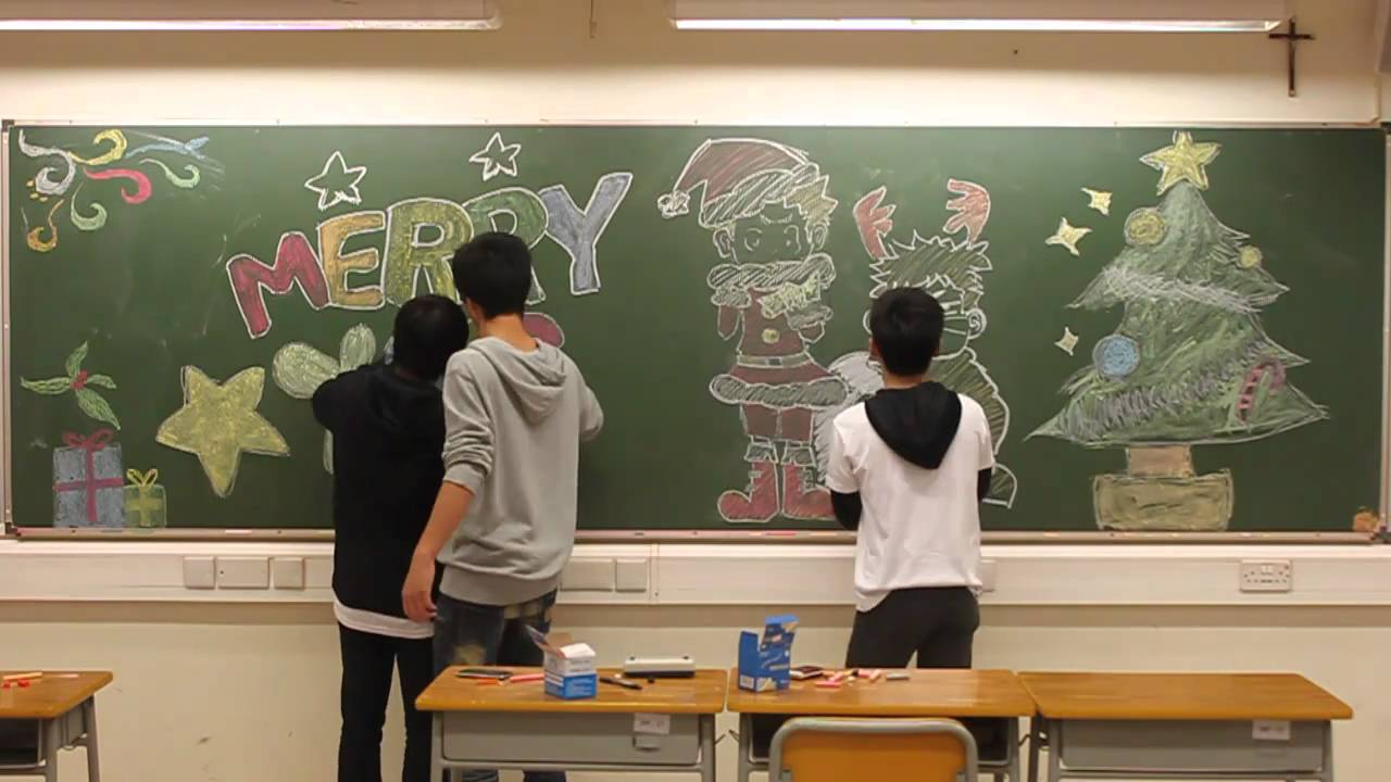 Classroom Decoration Black And White ~ Christmas blackboard decoration competition youtube
