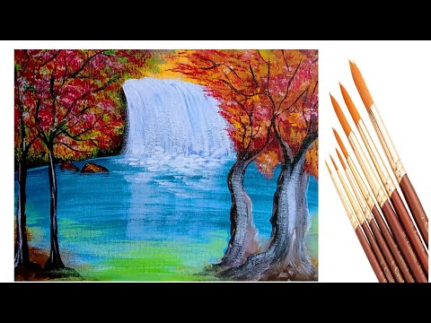 step-by-step-waterfall-landschap-painting-for-bigginers|how-to-draw-a-waterfall-painting