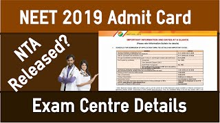 NEET 2019 Admit Card Released Today by NTA?