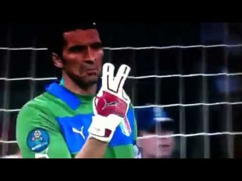 Buffon swearing at his own players England vs Italy