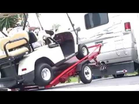 MOTORHOME TOWING TRAILER WITH GOLF CART - YouTube on racks for utvs, racks for four wheelers, racks for storage, racks for books, racks for doors, hunting golf carts,