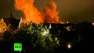Взрыв бомбы времен Второй мировой войны в Мюнхене