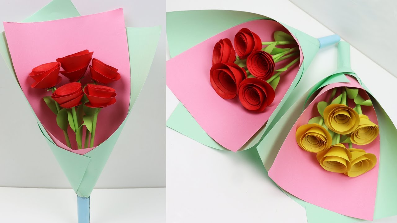 DIY HOW TO MAKE PAPER ROSE FLOWER BOUQUET - STEP BY STEP ...