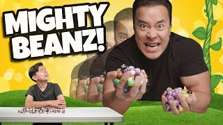 My Dad is a GIANT!!! MIGHTY BEANZ MINI GAMES CHALLENGE!!!