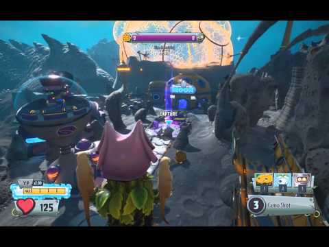 PvzGW2 - parkour locations: moon base reaching the broken satellite with peashooter & cactus