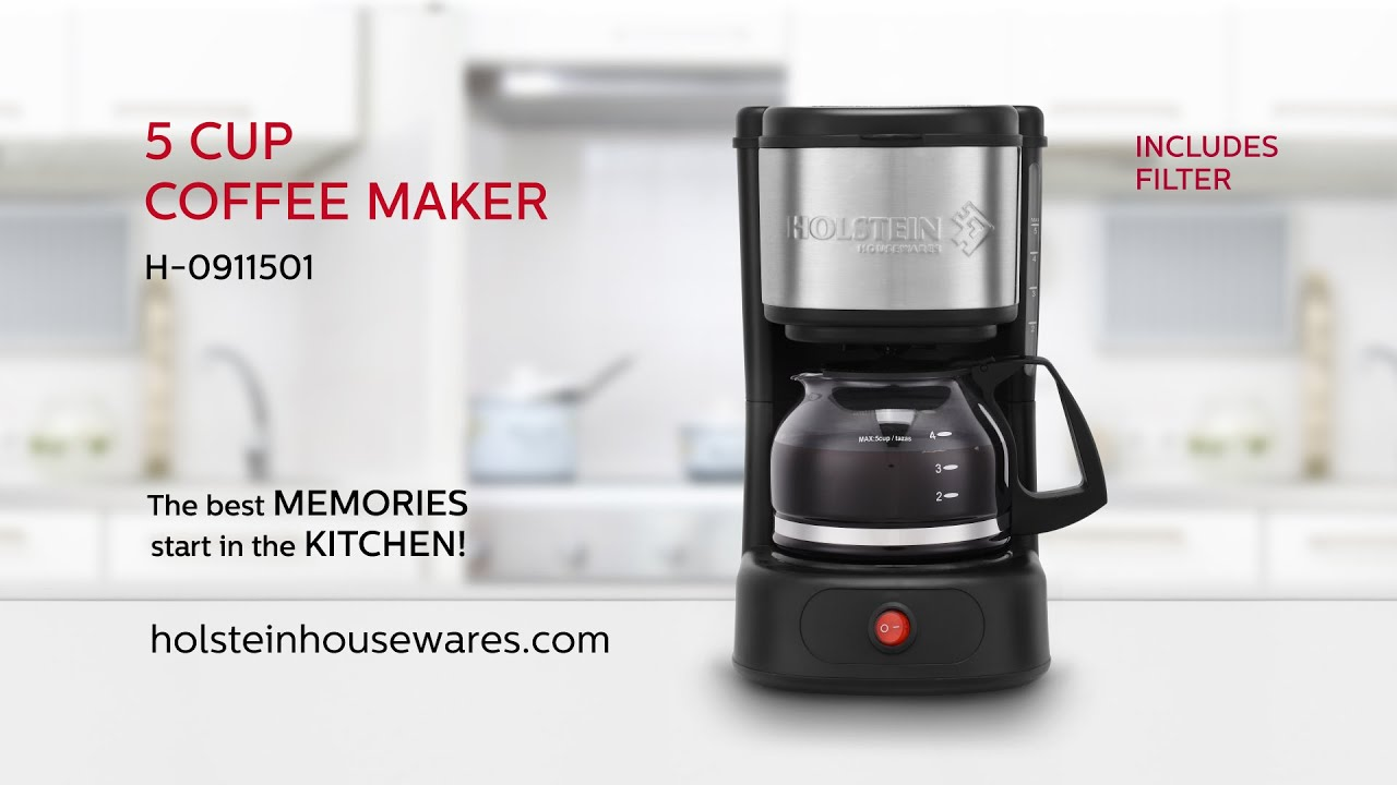 5 Cup Coffee Maker H 0911501 5 Cup Coffee Maker Holstein Housewares Youtube