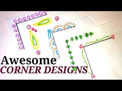 5 Easy Corner designs | Simple Corner designs on paper | Project file  decorating ideas