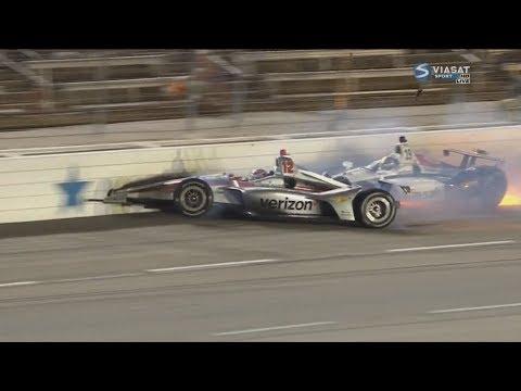 IndyCar Series 2018. Texas Motor Speedway. Zachary Claman DeMelo & Will Power Crash