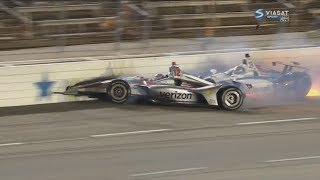 IndyCar Series 2018. Texas Motor Speedway. Zachary Claman DeMelo & Will Power Crash