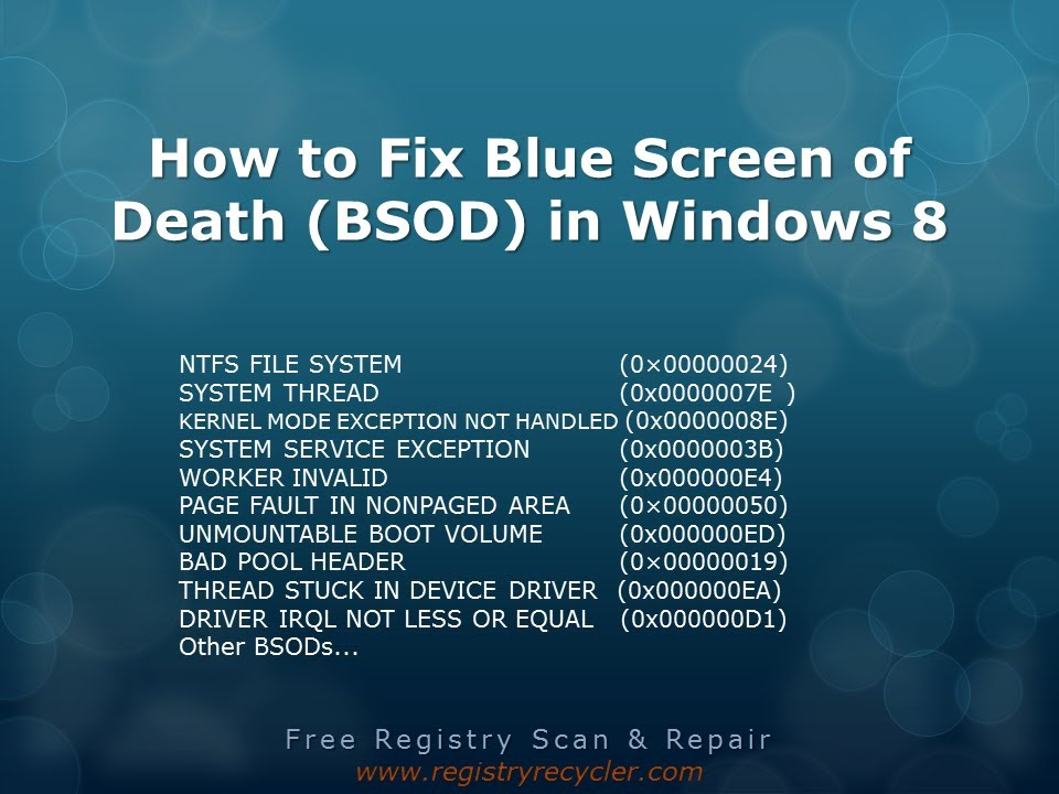 How to Fix Blue Screen of Death (STOP error) - Windows 8