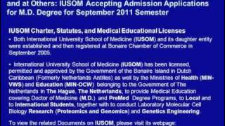 Avicenna Directory of Medicine Listed and Acceprable at GMC-UK & MCNZ: IUSOM M.D. Degree Admissions