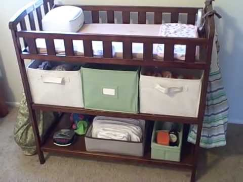our cloth diaper stash changing table setup and tour - Diaper Changing Table