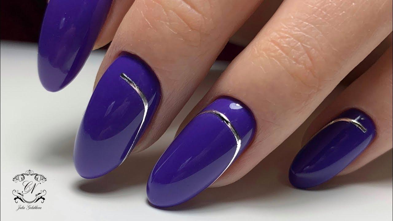 верхний дизайн ногтей с гнущимися полосками