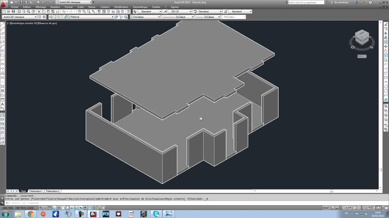apprendre autocad en 1h tutoriel r alisation maison 3d. Black Bedroom Furniture Sets. Home Design Ideas