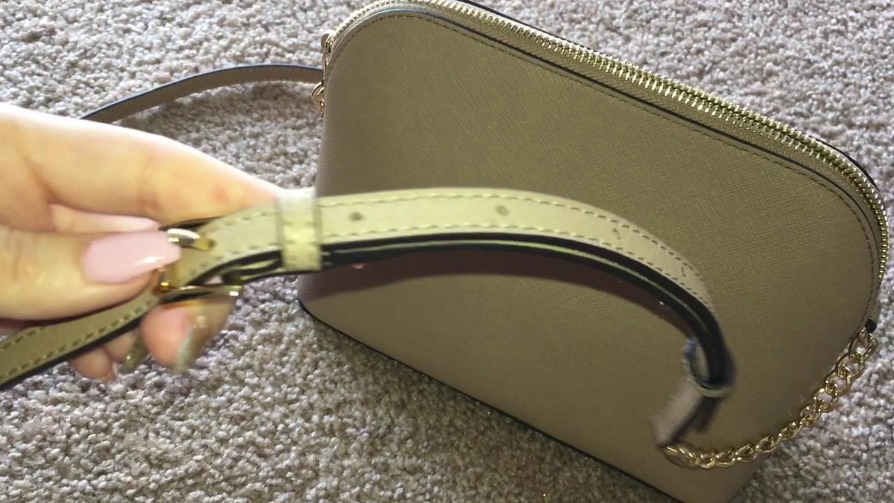 36a0c996096c Michael Kors Cindy LG Dome Crossbody Leather Bag-Camel - YouTube