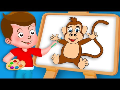 Drawing Monkey Paint And Colouring For Kids | Kids Drawing TV