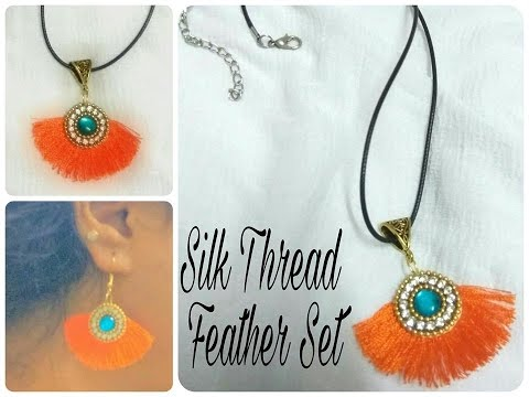 How to Make paper base|  Silk Thread Feather Earring - Tutorial