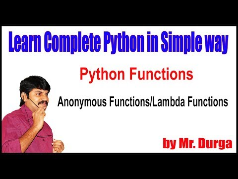 Python Functions ||  Anonymous Functions and Lambda Functions ||  by Durga sir thumbnail
