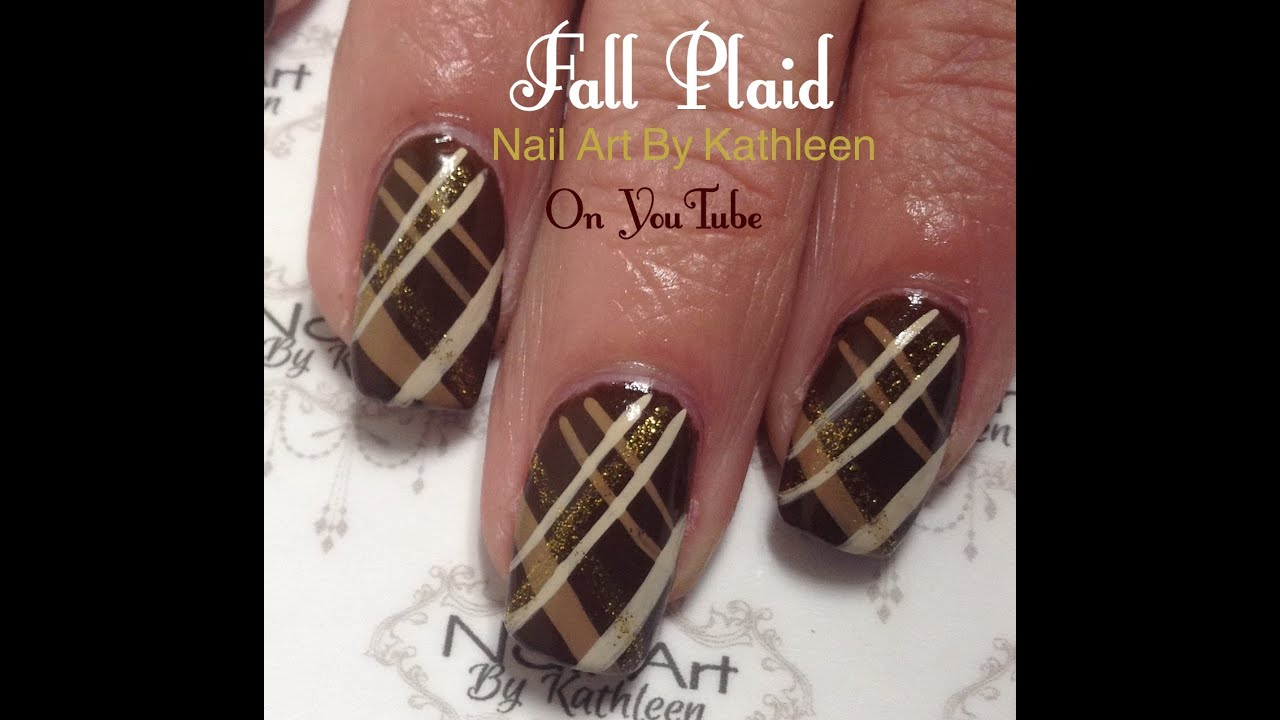 Fall Plaid Nail Design, Easy Nail Art Tutorial - YouTube