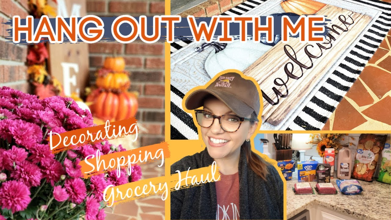 SPEND THE DAY WITH ME   WALMART GROCERY HAUL   FRONT PORCH FALL DECORATE WITH ME