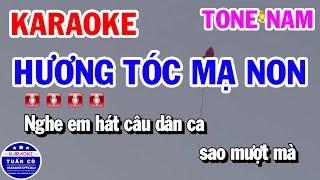 Karaoke Hương Tóc Mạ Non || Nhạc Sống Tone Nam Cha Cha Karaoke Tuấn Cò