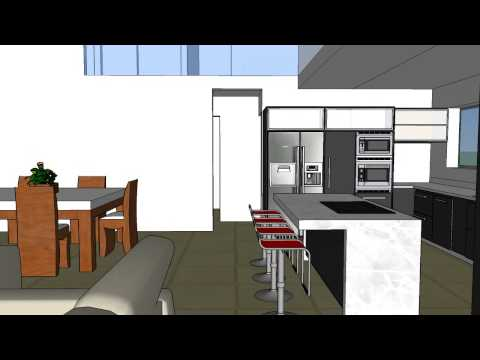 Interior Living comedor cocina doble altura alternativa 1 - YouTube