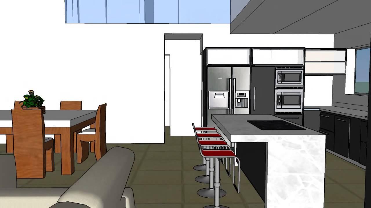 Interior living comedor cocina doble altura alternativa 1 for Planos de cocina living comedor