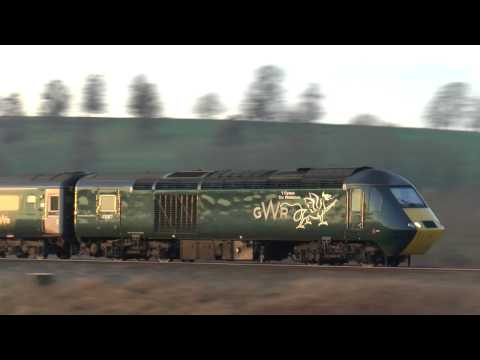 43187 + 43188 ,GWR Green welsh dragon set HST @ Newton st Loe 18-02-17  1