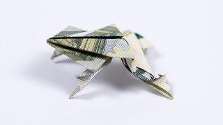 Geld falten Frosch, Kröte aus Geldschein falten, Anleitung