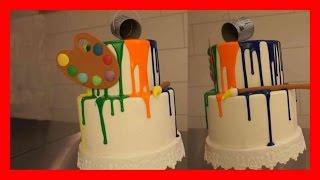 Rainbow Drip Torte - Farbverlauftorte in Regenbogenfarben - Fondant Farb Torte - Kuchenfee