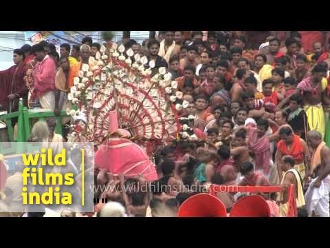 Hindu devotees carry the idol for Rath Yatra - Puri